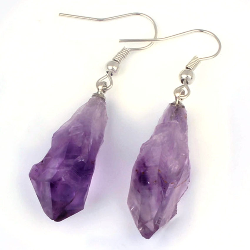 Earrings Drop Earrings Meajoe Trendy 925 Silver Natural Purple Amethysts Quartz Drop Earring Charm Round Women Dangle Earrings Jewelry For Women Gift