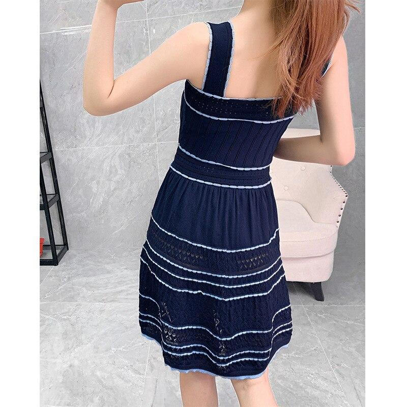 Alta Qualidade Estilo Cinta Vestido 2019 Outono Das Mulheres Bloco de Cor Tricô Sem Mangas Azul Escuro Branco Casual Doce Vestido Bonito Meninas - 5