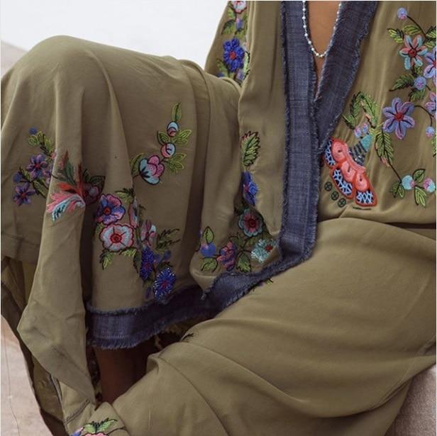 Vestidos boho 히피 세련된 빈티지 꽃 자수 카디건 비치 여행 2019 기모노 pareo 긴 소매 케이프 커버 맥시 드레스