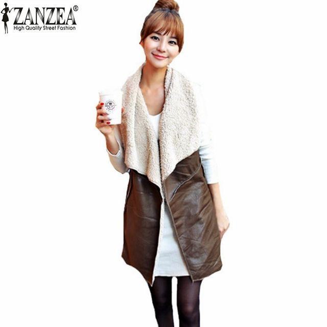 Zanzea Autumn Winter 2017 Fashion Women Leisure Warm Faux Fur Collar Long Leather Waistcoat Coat Outerwear Vest Casual Jacket