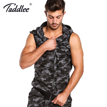Taddlee Brand Men's Hoodies Tank Top Sleeveless Cotton Zip-up Vest Active Camo Casual Hooded Men Plus Size Fashion Tees