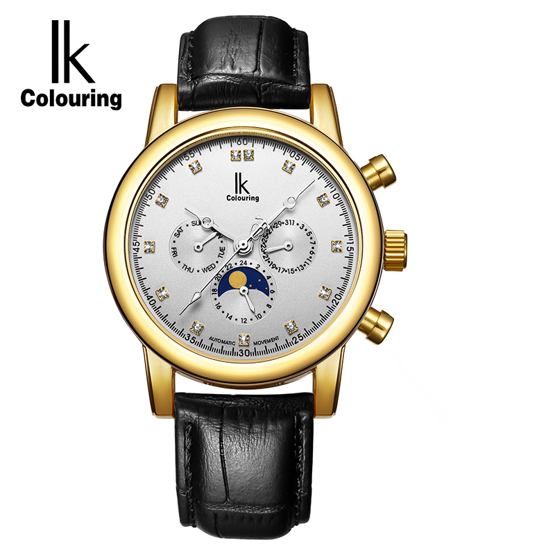 IK Moon Phase 6 Hands 24 Hours Function Automatic Mechanical Watch Genuine leather Strap Business Wristwatch Relogio Masculino forsining men luxury brand moon phase genuine leather strap watch automatic mechanical wristwatch gift box relogio releges 2016