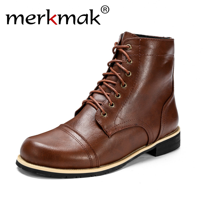 Merkmak Men Boots Winter Shoes Motorcycle-Boots British Male Autumn Fashion Lace-Up PU
