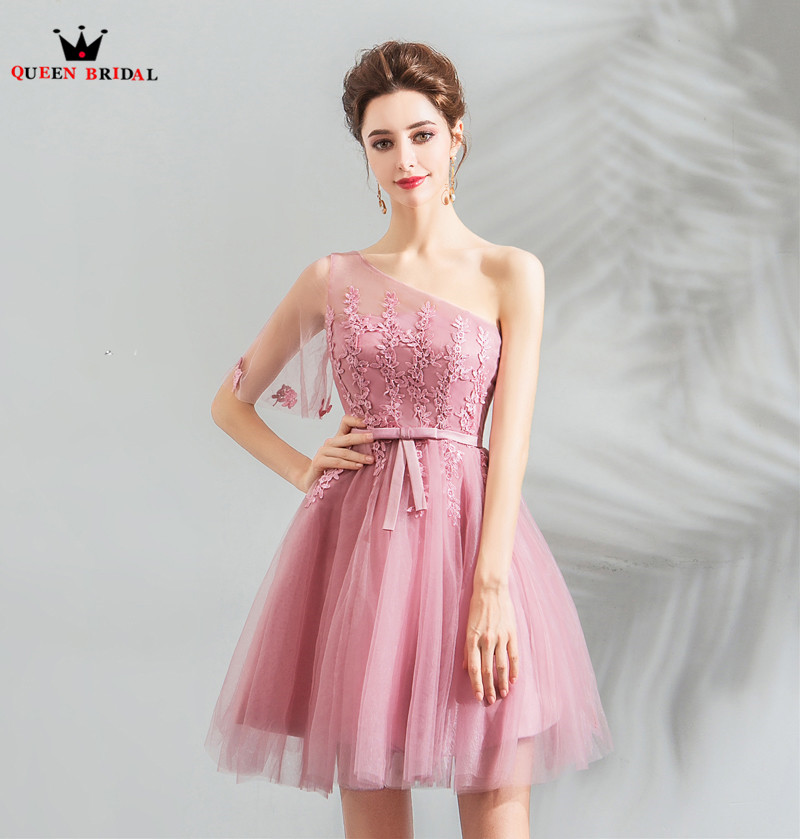 A Line One Shoulder Tulle Lace Pink Short Bridesmaid Dresses Wedding Party Gowns 2018 New Arrival
