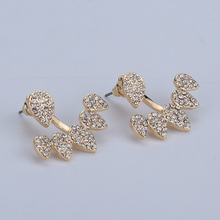 Party fashion Jewelry Crystal Front Back Double Sided Stud Earring For Women Ear Jacket Piercing Earing gold color and rose gold