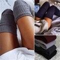 Recém Projeto das mulheres Inverno Quente Sólidos Polainas de Tricô Alta sobre o Joelho Meias OUTONO Ruffle Guarnição Polainas Bota Topper meias
