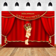 NeoBack Royal Girl Baby Shower Party Photography Backdrops Golden Crown Red Curtain Little Princess Background