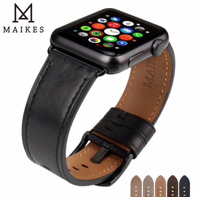 "MAIKES עור צפו בנד עבור אפל שעון 44 מ""מ 40 מ""מ/42 מ""מ 38 מ""מ סדרת 4 3 2 1 Watchbands עבור iWatch אפל שעון רצועה"