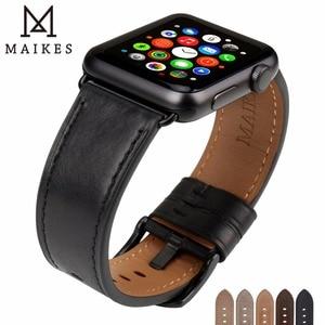Image 1 - سوار ساعة من الجلد من MAIKES لساعة Apple 44 مللي متر 40 مللي متر/42 مللي متر 38 مللي متر سلسلة 4 3 2 1 أربطة ساعات iWatch سوار ساعة Apple