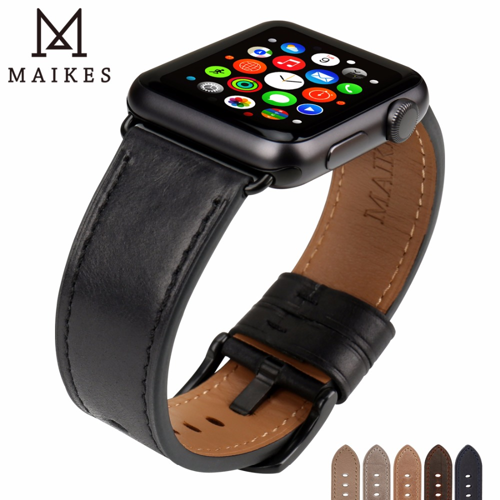 MAIKES Leather Watch Band For Apple Watch 44mm 40mm / 42mm 38mm Series 4 3 2 1 Watchbands For iWatch Apple Watch Strap 20 colors sport band for apple watch band 44mm 40mm 38mm 42mm replacement watch strap for iwatch bands series 4 3 2 1