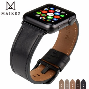 Image 1 - MAIKES Leather Watch Band For Apple Watch 44mm 40mm / 42mm 38mm Series 4 3 2 1 Watchbands For iWatch Apple Watch Strap