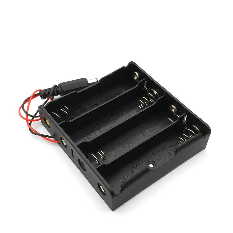 1 Cái Mới Đen DIY 2X3X4X18650 Pin Hộp Bảo Quản Ốp Lưng DC 5.5X2.1 Mm Cắm Điện Nhựa + Meta