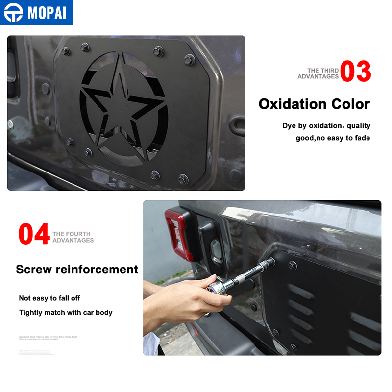 Image 5 - MOPAI Car Styling Mouldings for Jeep Wrangler JL 20118 Car Tailgate Exhaust Air Vent Cover for Jeep JL Wrangler Accessories-in Styling Mouldings from Automobiles & Motorcycles