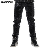 Black Silver Sequins PU Leather Pants Punk style Rock magic Hip Hop Long pants Men Singer Nightclub Performance Leather Trousers