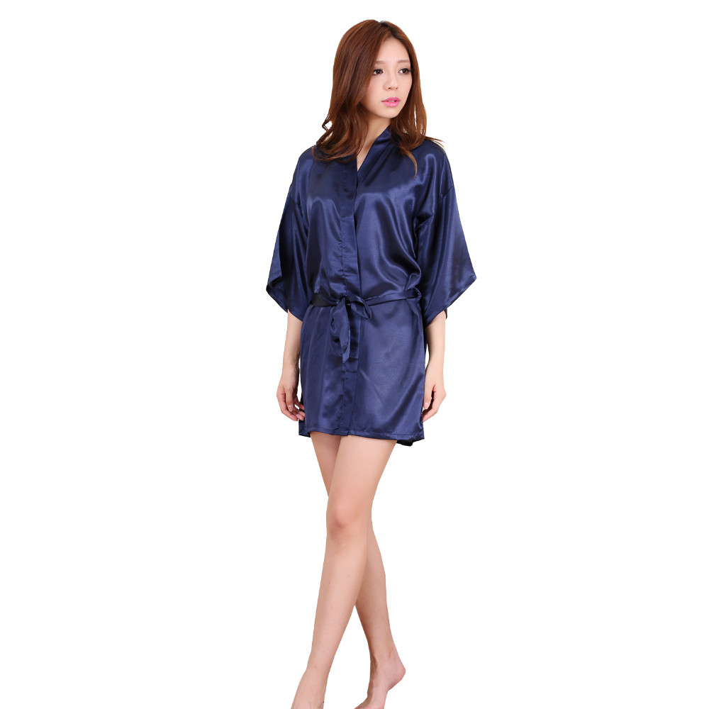 New Navy Blue Chinese Women Silk Rayon Robe Kimono Bath Gown Sleepwear Sexy Lingerie Nightgowns Plus Size S M L XL XXL XXXL