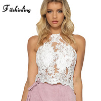 Fitshinling Sexy hot lace crop top boho beach hollow out white halter tops short fashion slim backless floral camisole ladies