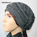 Fashion Men Warm Pleats Acrylic Skullies Beanie Casual Knitted Hip-Hop Winter Hats Double Colors Striped Cap Free Size
