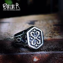 Beier 316L ze stali nierdzewnej Nordic pierścień Viking Rune list Odin Amulet scandinavi sygnet pierścień moda męska biżuteria LR215 tanie tanio Mężczyźni Metal Brak Okres Tracker Punk Zespoły weselne Owalne Strona Pierścionki