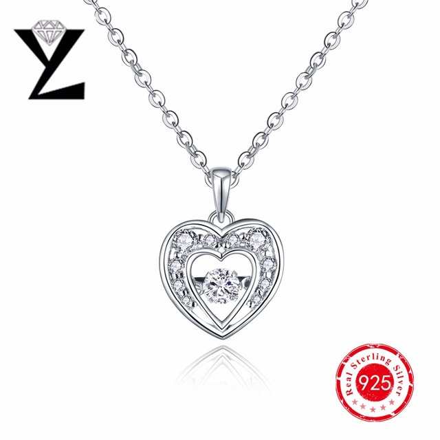 Hot Sale 925 Sterling Silver Love Couple Necklace Heart for Women Lovers Natural Stone Pendant Necklace Sterling-Silver-Jewelry