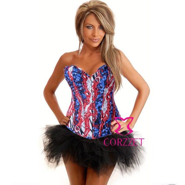 Wild Fantasy font b Women b font Burlesque Denim Corset Bustier Dress Body font b Shaper