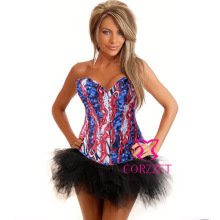 Wild Fantasy Women Burlesque Denim Corset Bustier Dress Body Shaper Sexy Bustiers and Corsets Top + Skirt Korse Jeans Dress
