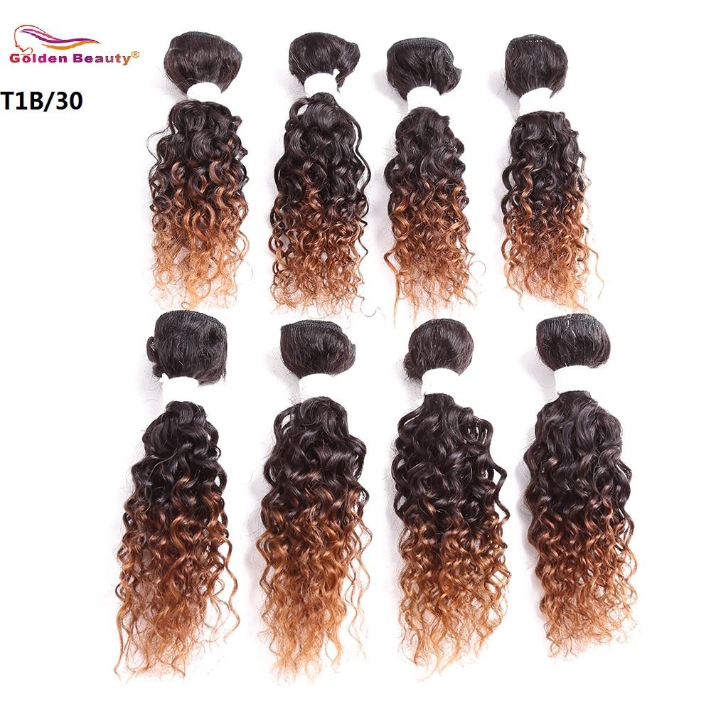 Golden Beauty 8-14inch 8st / pack Ombre Colored Jerry Curly Syntetisk - Syntetiskt hår - Foto 3