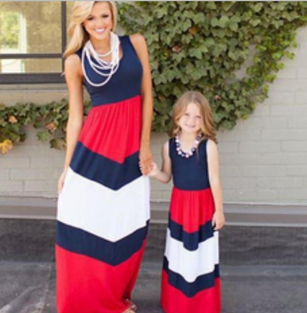 a232690c48643 Summer Style Family Matching Outfits mother daughter sleeveless dresses  female woman & kids princess clothes maternity