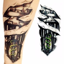 1pc 3D Robot Mechanical Arm Sleeve Flash Tattoo Body Art Temporary Tattoo Sticker Waterproof Fake Tattoo For Men Henna Tatto Y3