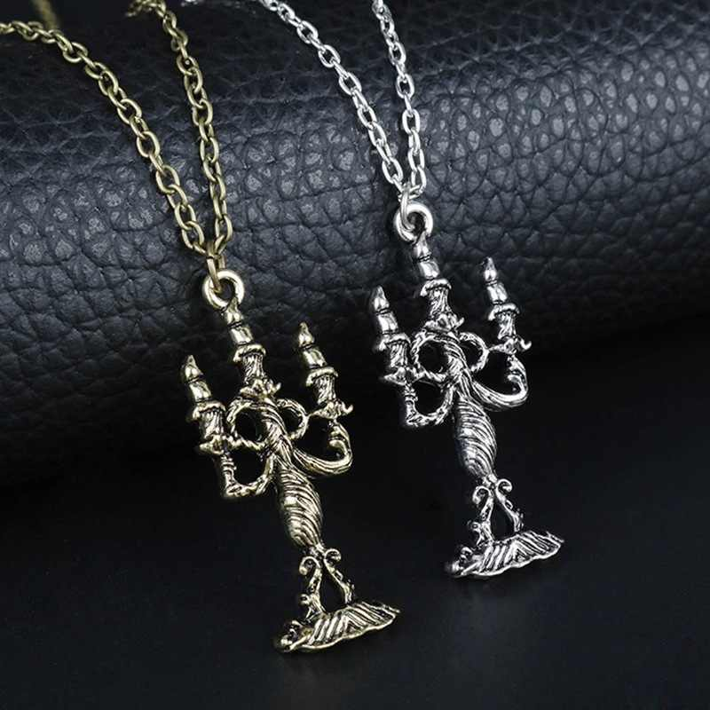 542d1e7458 Beauty and the Beast Rose Necklaces & Pendants Beauty Beast Belle Rose  Candle Statement Necklace Valentines