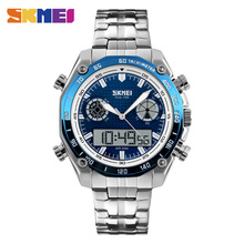 Fashion Sports Watches Men 30M Waterproof LED Electronic Luxury Watch Shock Stainless Steel Dual Display Wristwatches Mens SKMEI