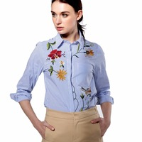 Women Embroidery Blouse Loose Cotton Shirt Long Sleeve Turn Down Collar White Blue Striped Tops Camisas