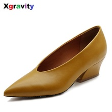 XGRAVITY Spring Chunky Wedge Shoes Autumn Mid Heeled Lady Fashion Pointed Toe Shoes Women's Genuine Leather OL Footwear C114-1