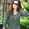 2016 Fashion T Shirt Women Casual Tops Long Sleeve Plus Size T Shirt Loose Solid Casual Poleras De Mujer TW14