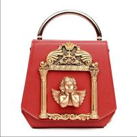 3D Golden Relief Angel Luxury Women Diamonds Evening Bags Baroque Style Day Clutches Purse Bags Pearl Ornament Chain