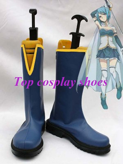 Puella Magi Madoka Magica Sayaka Miki Male-Version Cosplay Shoes Boots Custom Made Blue