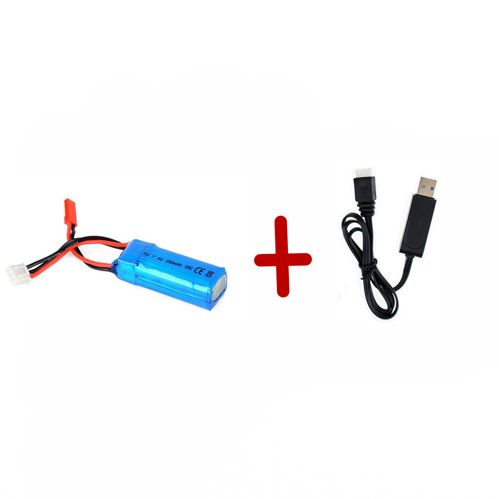 1 pcs <font><b>2S</b></font> 7.4V <font><b>350mAh</b></font> 35C Lipo Battery with usb cable For Mini RC Helicopter Quadcopter Airplane Model DLG1000 F300BL DTS130 image