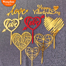 Gold Acrylic Cake Toppers Love Heart Valentines Day Party Decoration Happy Birthday Wedding Topper Supplies