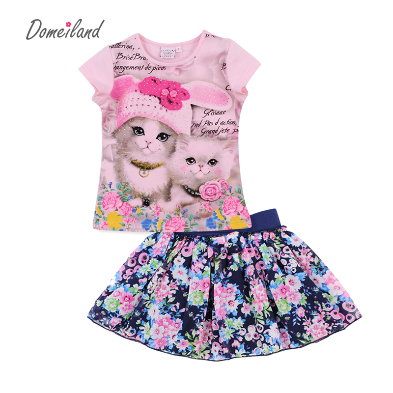 2017 fashion domeiland summer children clothing sets kids girl outfits 3d cat short sleeve cotton shirts with skirt baby clothes baby girl 1st birthday outfits short sleeve infant clothing sets lace romper dress headband shoe toddler tutu set baby s clothes