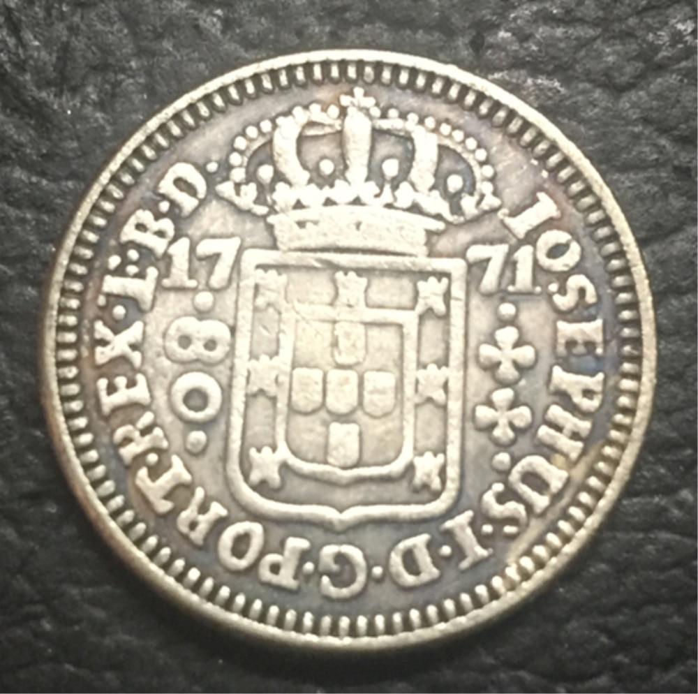 1771 Бразилия 80 Reis посеребренные КОПИЯ монета