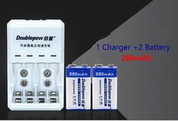 2 шт. В 9 В 6f22 перезаряжаемые батарея 280 мАч батарея микрофон мультиметр батарея шт. + В 1 шт. 9 в AA AAA батарея Multi-function зарядное устройство