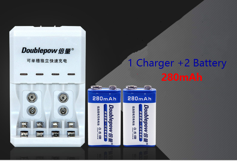 2PCS 9 V 6f22 Rechargeable Battery 280 mAh Battery Microphone Multimeter Battery + 1PCS 9V AA AAA Battery Multi-function charger