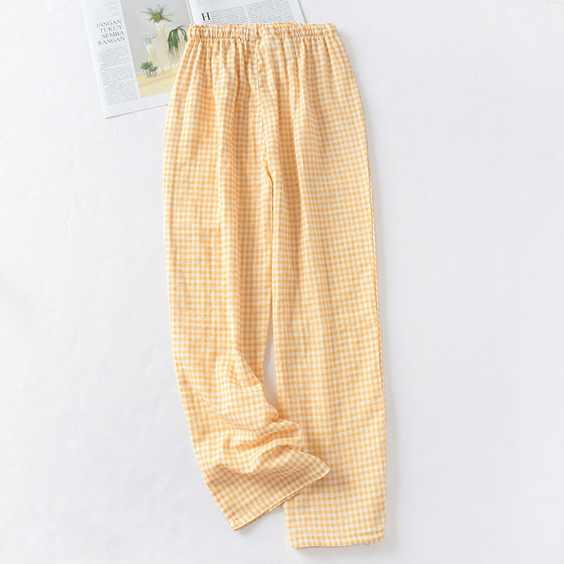 Весенние и летние домашние штаны для пары, женские хлопковые двойные газовые Тонкие штаны для сна, повседневные пижамы с принтом