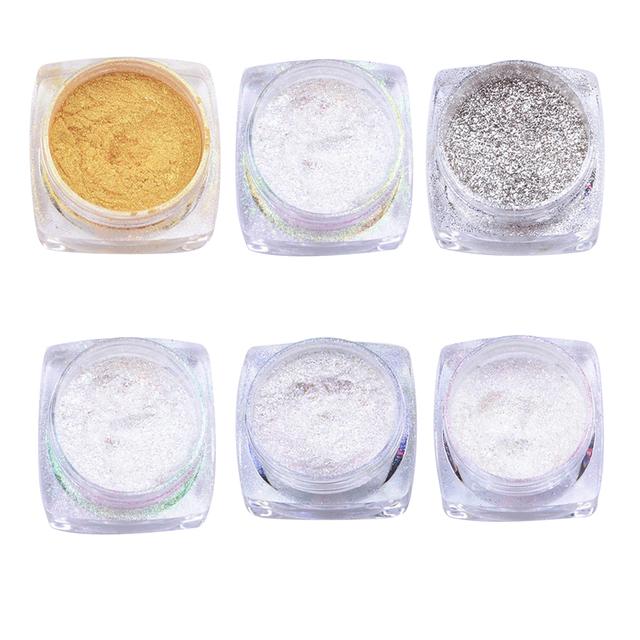 Nail Glitter Powder Mirror Chrome Effect Dust 6 Colors Glitter Shimmer Shinning Nails Beauty Polish Nail Art Decorations 1g/box