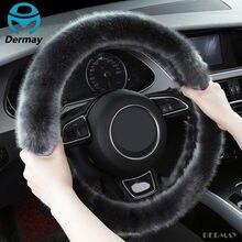 Новый высококачественный зимний чехол рулевого колеса автомобиля из искусственной шерсти, сохраняющий тепло, размер M, подходит для 95% авто...