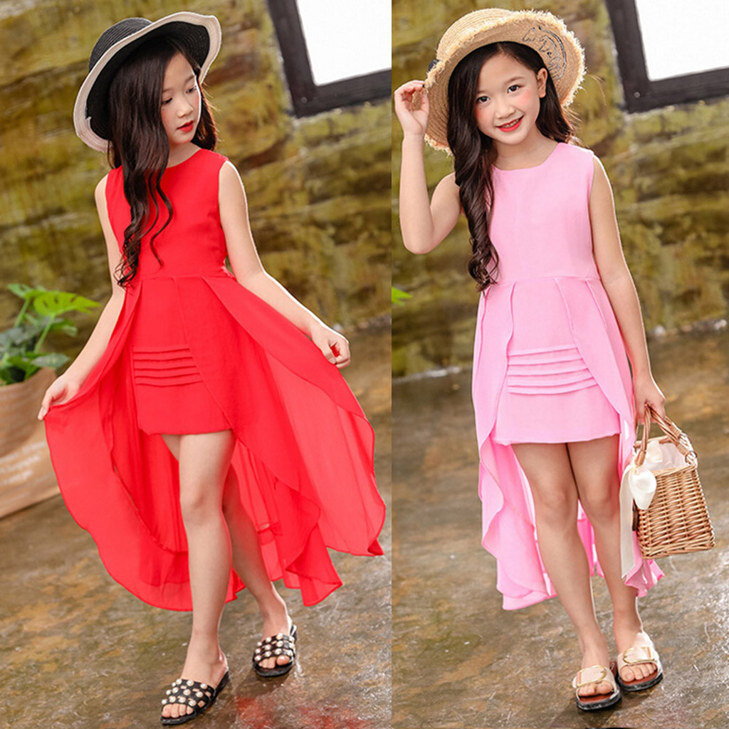 MUQGEW Dress Baby-Girls Children Party Kids Summer Swallowtail Chiffon New-Fashion
