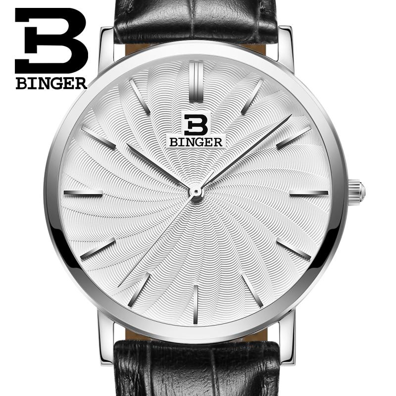 Switzerland BINGER men's watch luxury brand quartz leather strap ultrathin Wristwatches Waterproof clock B3051M-2 binger 100