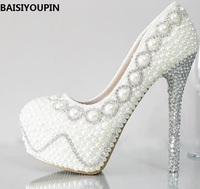 Crystal Shoes Wedding Shoes Pearl Bridal Shoes Rhinestone Small Flower Handmade Women S Shoes Married White