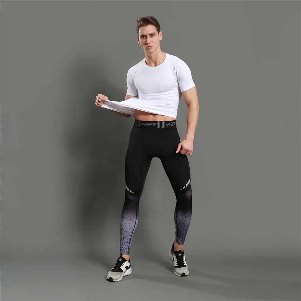 Leggings homme noir gris, meggings bicolore réfléchissant yoga gym, de face, photo de plain-pied