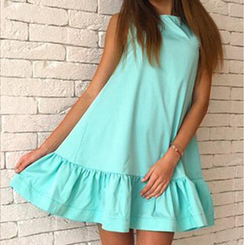 821bfaa0fac Летние женский сарафан повседневное без рукавов пляжные короткое платье  оборками лоскутное майки платья для женщин Оранжевый