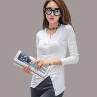 White T Shirt Asymmetrical Button V Neck Tshirt 2017 Slim Sexy T Shirt Women Tops Bamboo